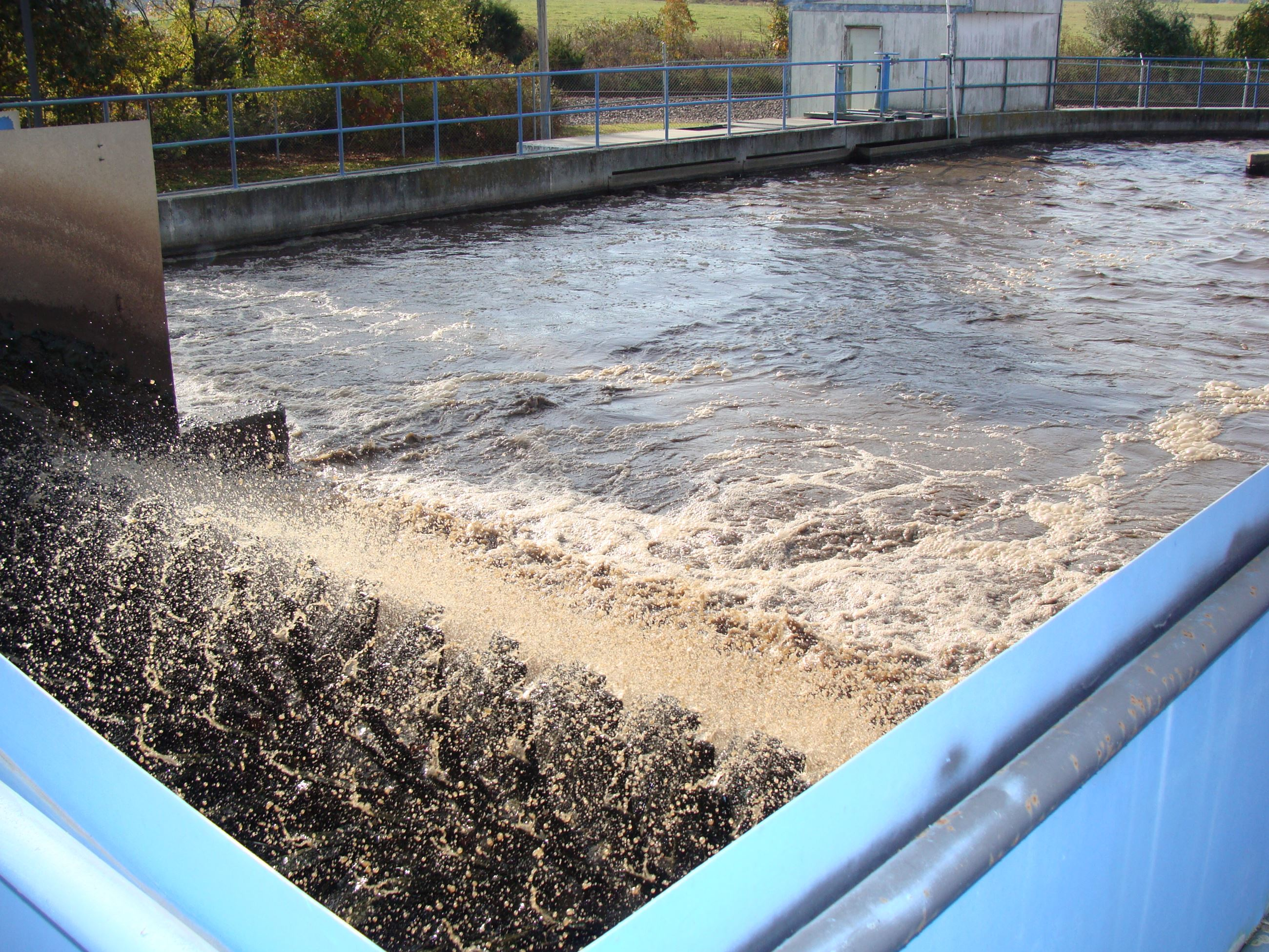 Wastewater being treated and filtered